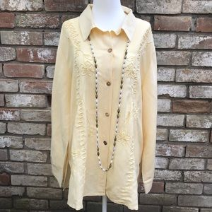 🌻 Coldwater Creek Embroidered Linen Shirt 18W 🌻